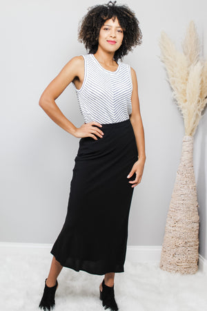 Glow Fashion Boutique Black Flattering Maxi Skirt