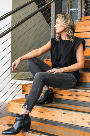 Glow Fashion Boutique Charcoal Grey Frayed Skinny Jeans