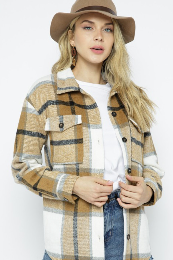 Load image into Gallery viewer, Glow Fashion Boutique Tan Plaid Shacket