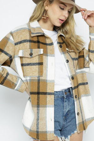 Load image into Gallery viewer, Glow Fashion Boutique Brown Plaid Shacket