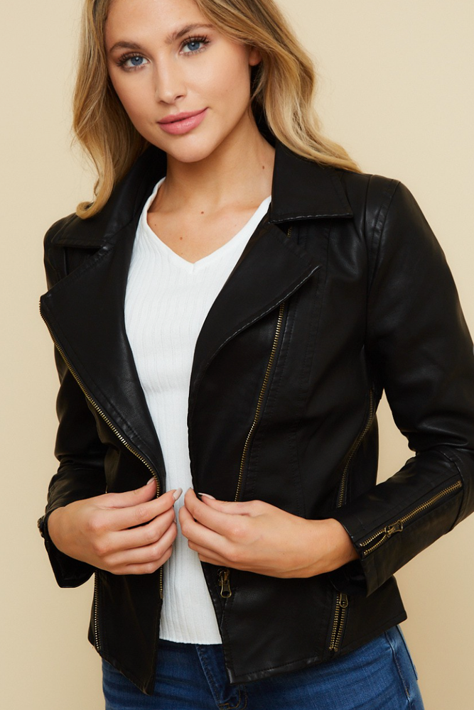 Load image into Gallery viewer, Glow Fashion Boutique Moto Jacket