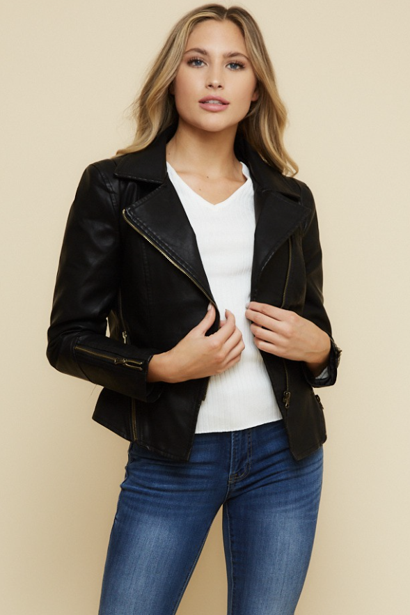 Load image into Gallery viewer, Glow Fashion Boutique Short Leather Jacket
