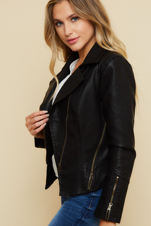 Load image into Gallery viewer, Glow Fashion Boutique Faux Leather Moto Jacket