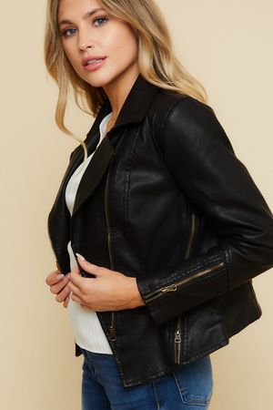 Load image into Gallery viewer, Glow Fashion Boutique Black Faux Leather Moto Jacket