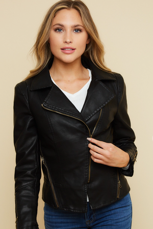 Load image into Gallery viewer, Glow Fashion Boutique Black Leather Moto Jacket