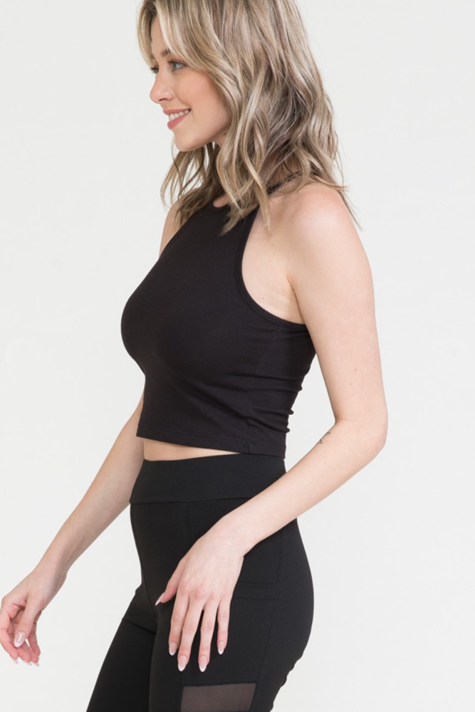 Load image into Gallery viewer, Glow Fashion Boutique Black Halter Crop Top