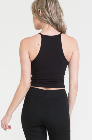 Load image into Gallery viewer, Glow Fashion Boutique Black Crop Top