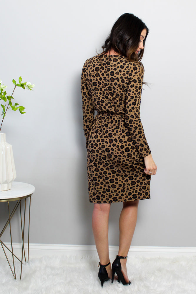 Load image into Gallery viewer, Leopard Wrap Short Dress Glow Fashion Boutique