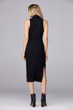 Black Sleeveless Turtleneck Dress - Glow Fashion