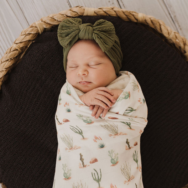 Cactus organic Cotton and bamboo muslin swaddle wrap for baby, newborn and infant