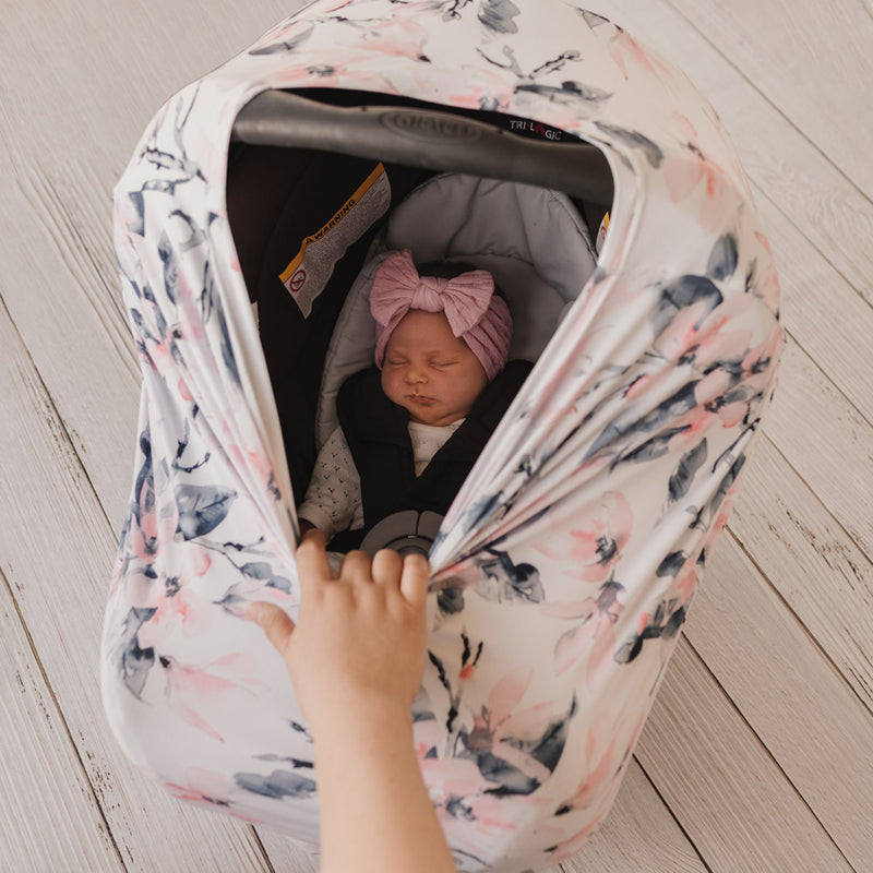 5 in 1 Multi Use Cover - Watercolour Blossom - Capsule Cover, Highchair Cover, Shopping Trolley Cover, Breastfeeding Cover, Nursing Scarf