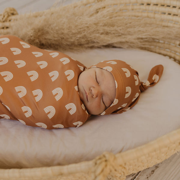 Mod & Tod Baby Stretchy Swaddle Wrap Organic Cotton - Earth Rainbow