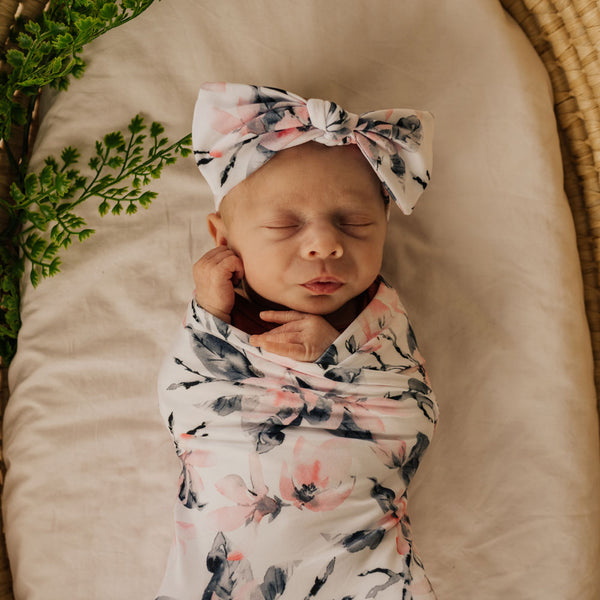 Mod & Tod Baby Stretchy Swaddle Wrap Organic Cotton - Watercolour Blossom