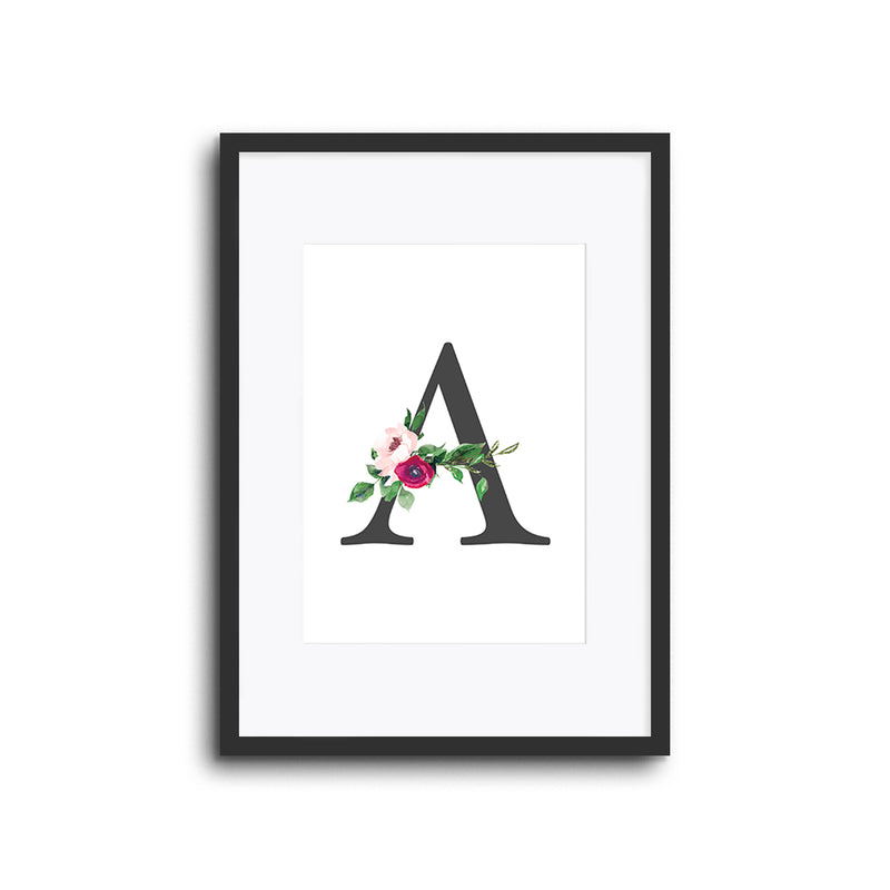 Floral Initials Letters Wall Print Nursery Decor