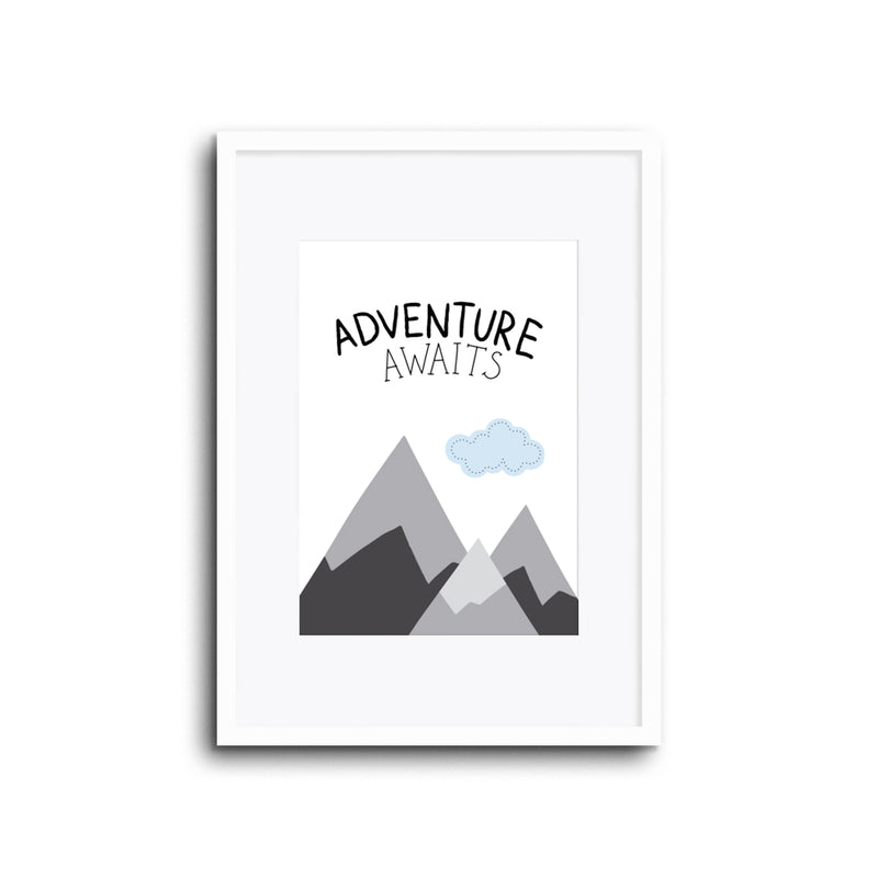Adventure Awaits wall art print for baby room, nursery, kids room, boy room, playroom modern home decor scandi style. minimal style