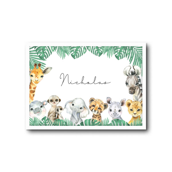 Safari Animals Wall Print Baby Kids Room Nursery Art Custom Name