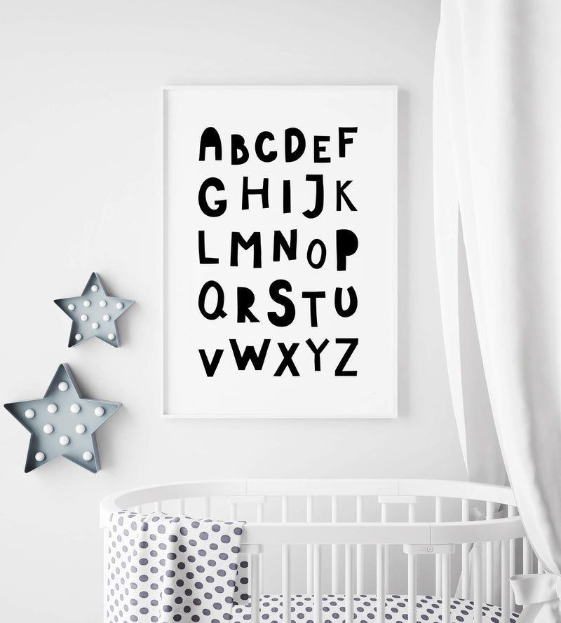 Nursery Decor Wall Art Print - Alphabet - Kids bedroom baby room playroom home decor and for lounge modern scandi design minimal and educational