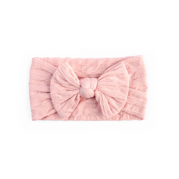 Waffle Bow Headband - Baby Pink for baby, newborn and infant. Cute and beautiful. One size fit all
