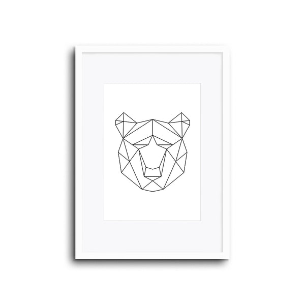Wall Print Geometric Line Animals Bear