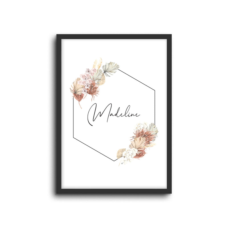 Boho Bouquet Custom Name Wall Print Nursery Art Kids Bedroom Art Bohemian home decor