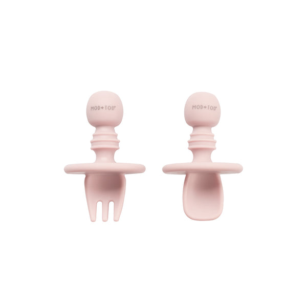 Silicone Cutlery Set | Blush Pink for baby, infant, toddlers and kids feeding and baby led weaning