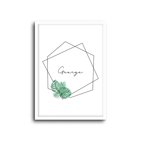 Botanical Custom Name Wall Print Nursery Art Kids Bedroom Art