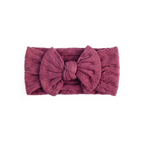 Waffle Bow Headbands - Burgundy - Baby Girl