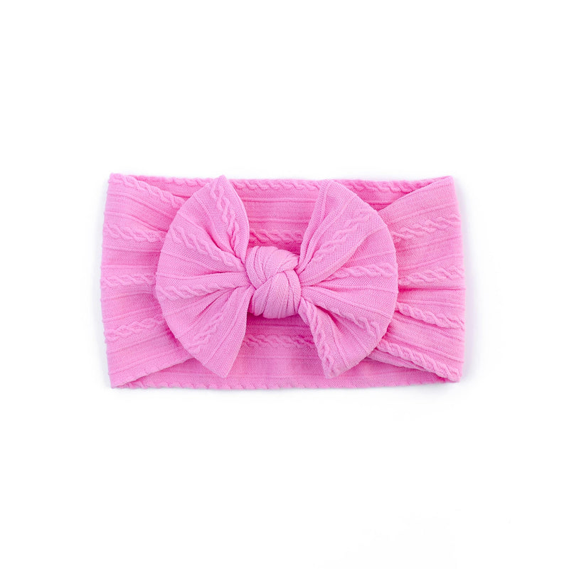 Cable Bow Headband - Bubble gum for girls baby and toddlers. Cute, pretty and beautiful accessories