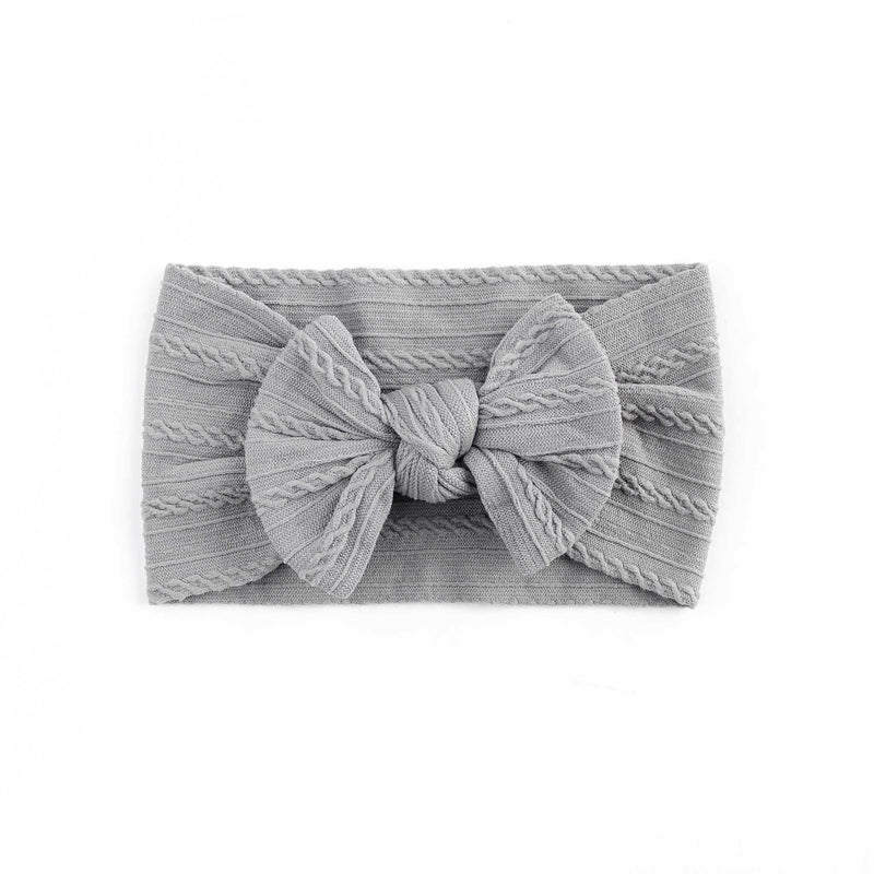 Cable Bow Headband - Grey for girls baby and toddlers. Cute, pretty and beautiful accessories