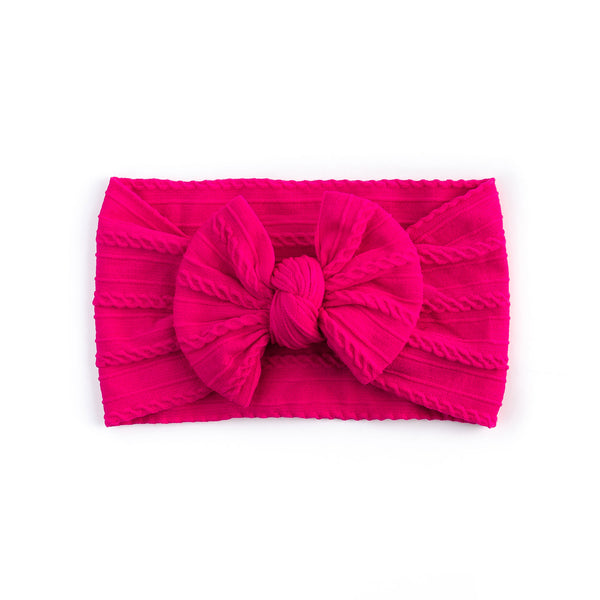 Cable Bow Headband - Hot Pink