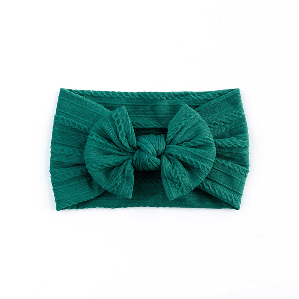 Cable Bow Headband - Jade for girls baby and toddlers. Cute, pretty and beautiful accessories