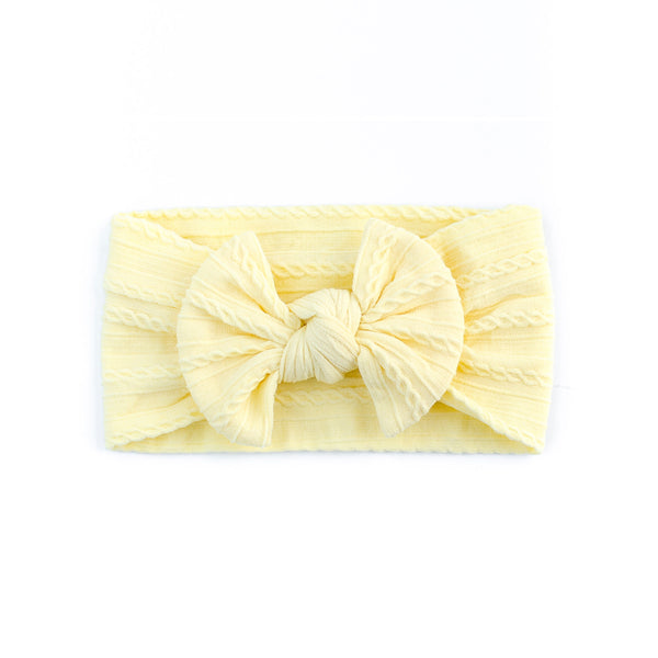 Cable Bow Headband - Lemon