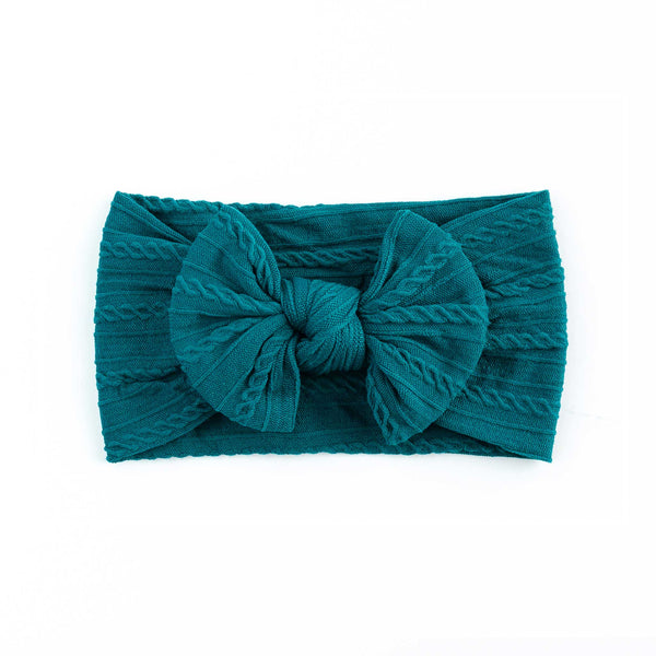 Cable Bow Headband - Peacock for girls baby and toddlers. Cute, pretty and beautiful accessories