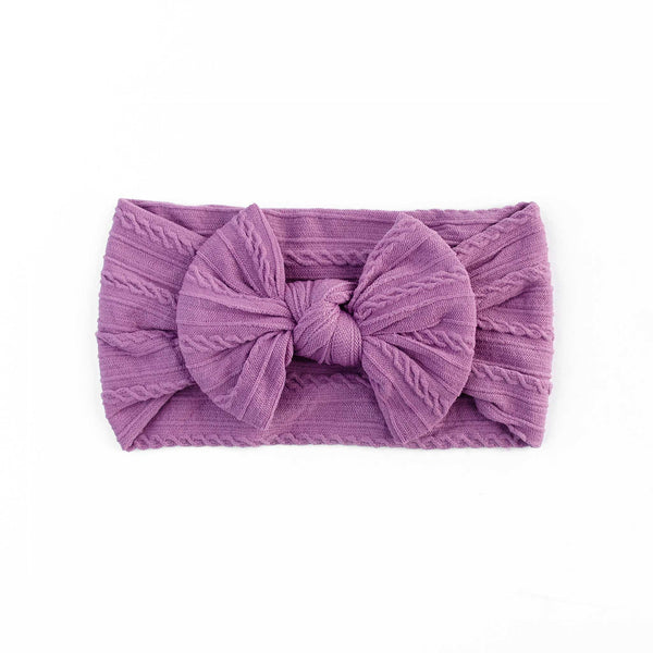 Cable Bow Headband - Plum