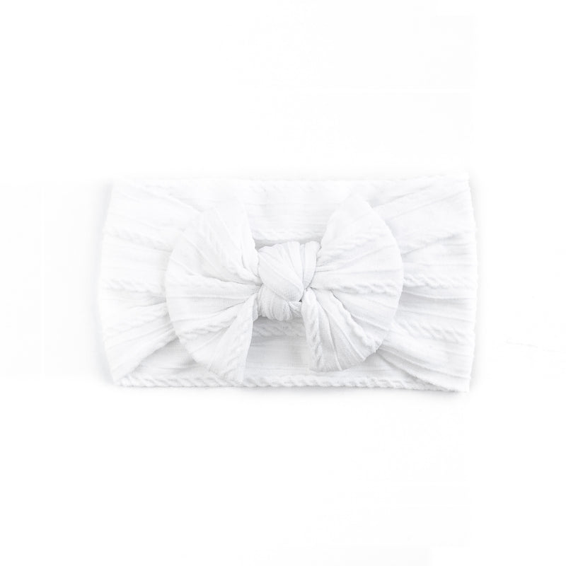 Cable Bow Headband - White