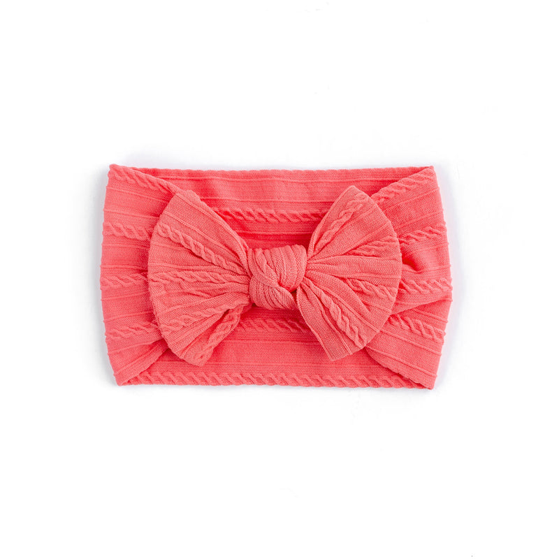 Cable Bow Headband - Coral for baby, newborn and infant. Cute and beautiful. One size fit all