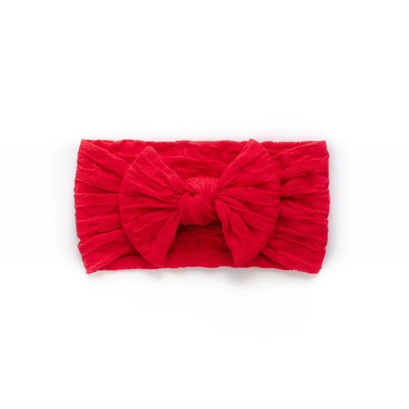 Waffle Bow Headband - Red for baby, newborn and infant. Cute and beautiful. One size fit all