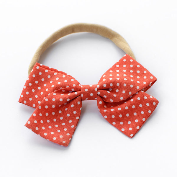 Christmas Bow Headband - Polka Dots - Baby Girl Nylon