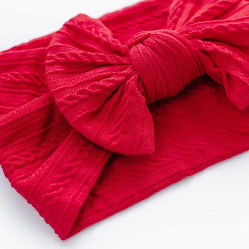 Cable Bow Headband - Red for baby, newborn and infant. Cute and beautiful. One size fit all