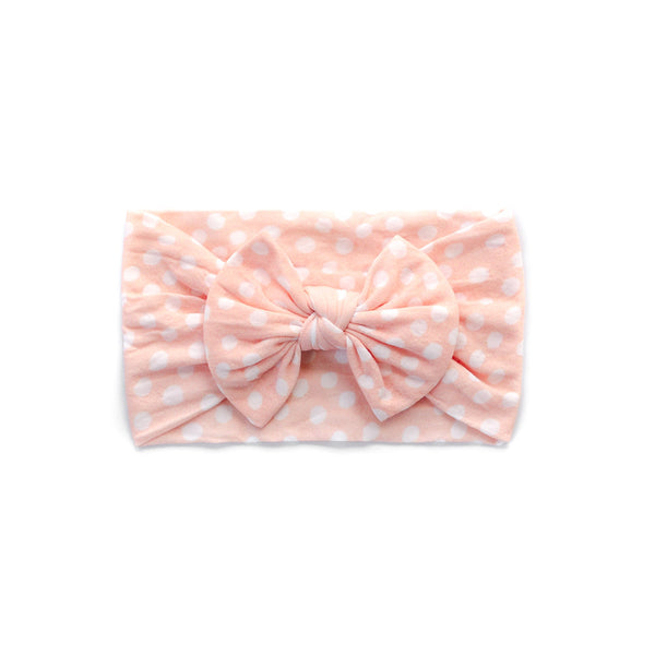 Classic Bow Headband - Peach Polka for baby, newborn and infant. Cute and beautiful. One size fit all