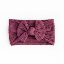 Cable Bow Headband - Burgundy for baby, newborn and infant. Cute and beautiful. One size fit all