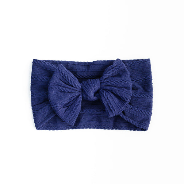 Cable Bow Headband - Navy for baby, newborn and infant. Cute and beautiful. One size fit all