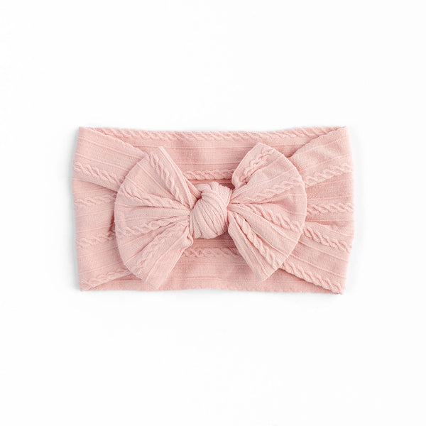 Cable Bow Headband - Baby Pink for baby, newborn and infant. Cute and beautiful. One size fit all
