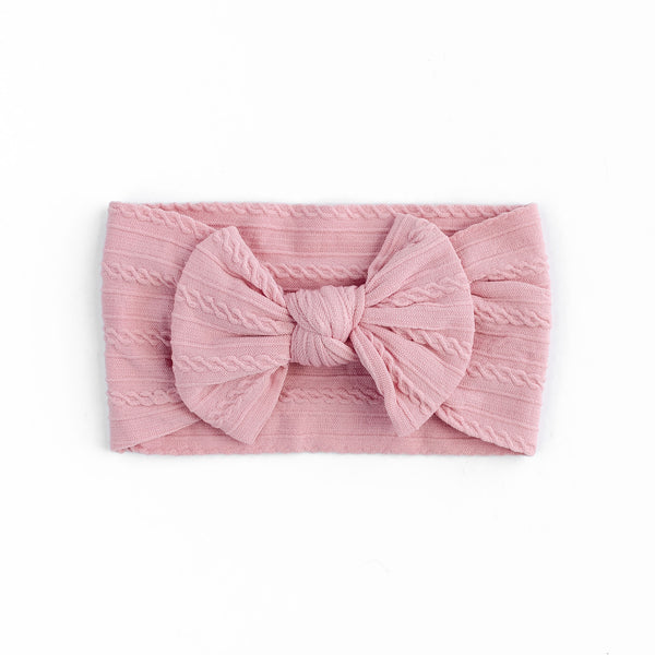 Cable Bow Headband - Dusty Pink for baby, newborn and infant. Cute and beautiful. One size fit all