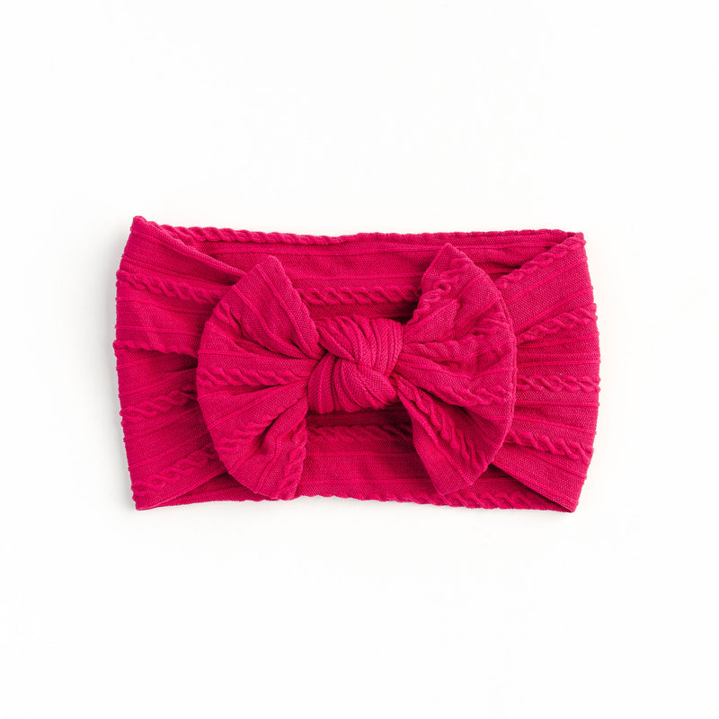 Cable Bow Headband - Magenta for baby, newborn and infant. Cute and beautiful. One size fit all