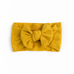 Cable Bow Headband - Mustard for baby, newborn and infant. Cute and beautiful. One size fit all