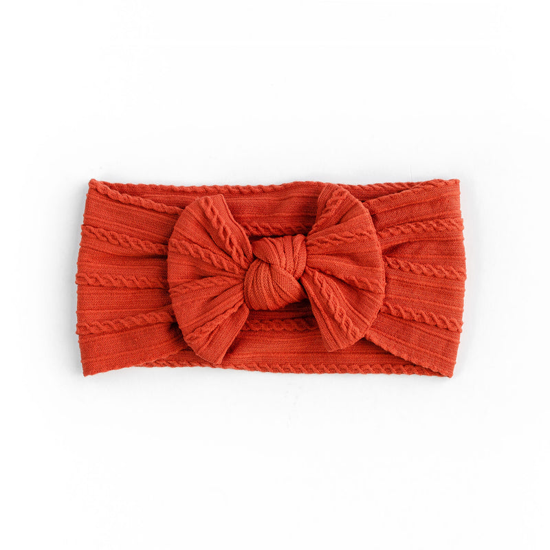 Cable Bow Headband - Rust for baby, newborn and infant. Cute and beautiful. One size fit all