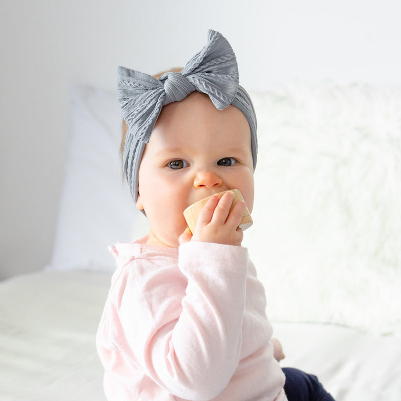 Cable Bow Headband - Grey for baby, newborn and infant. Cute and beautiful. One size fit all