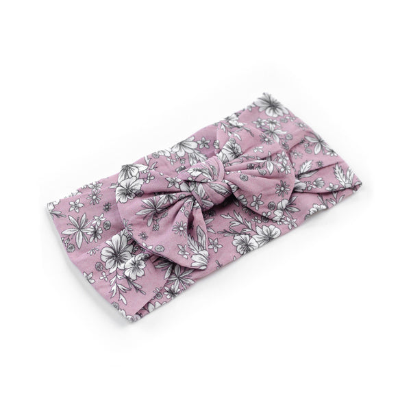 Classic Bow Headband - Dusty Bloom for baby, newborn and infant. Cute and beautiful. One size fit all