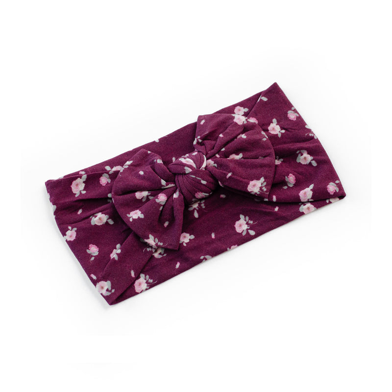 Classic Bow Headband - Burgundy Rose  for baby, newborn and infant. Cute and beautiful. One size fit all